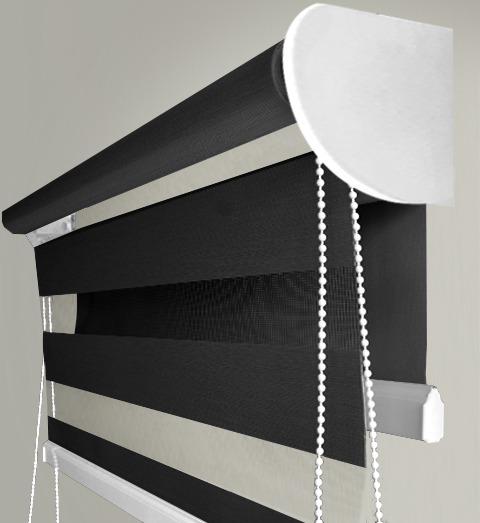 Persiana Enrollable 2en1 Black Out + Sheer Screen Negro